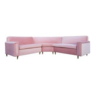 Cotton Candy Pink Velvet 1950's Sectional 3 Piece Sofa