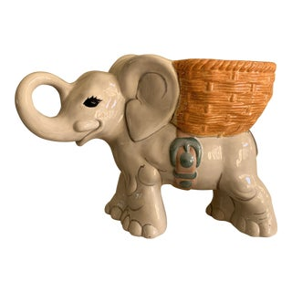 Vintage Handmade Elephant Planter Vessel For Sale