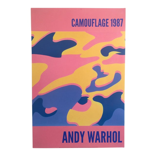 """Andy Warhol Original Lithograph Pop Art Poster """"Pink Camouflage"""" 1987 For Sale"""