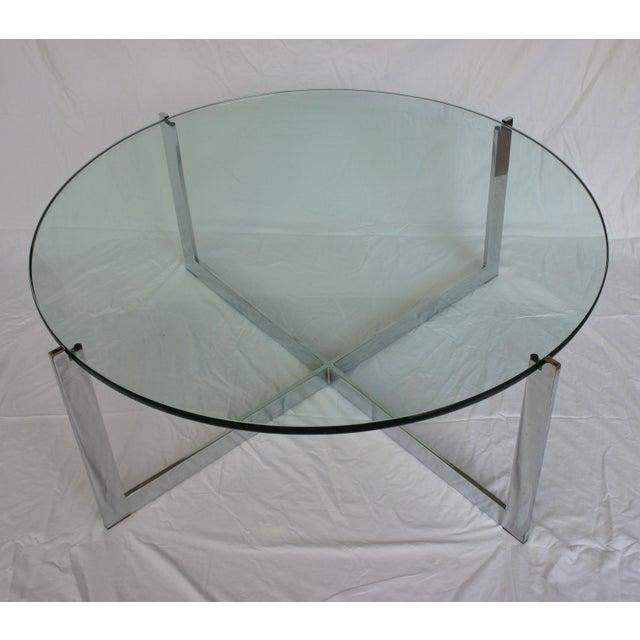 Milo Baughman Chrome & Glass Round Coffee Table - Image 2 of 11
