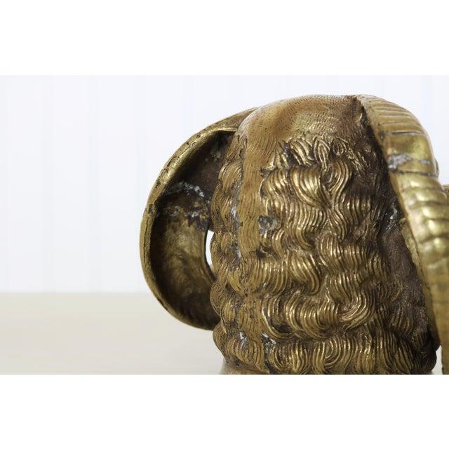 Brass Vintage Big Horn Sheep Brass Ram Statue For Sale - Image 8 of 12