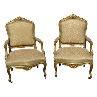 Louis XVI Style Gilt Carved Upholstered Fauteils - A Pair For Sale
