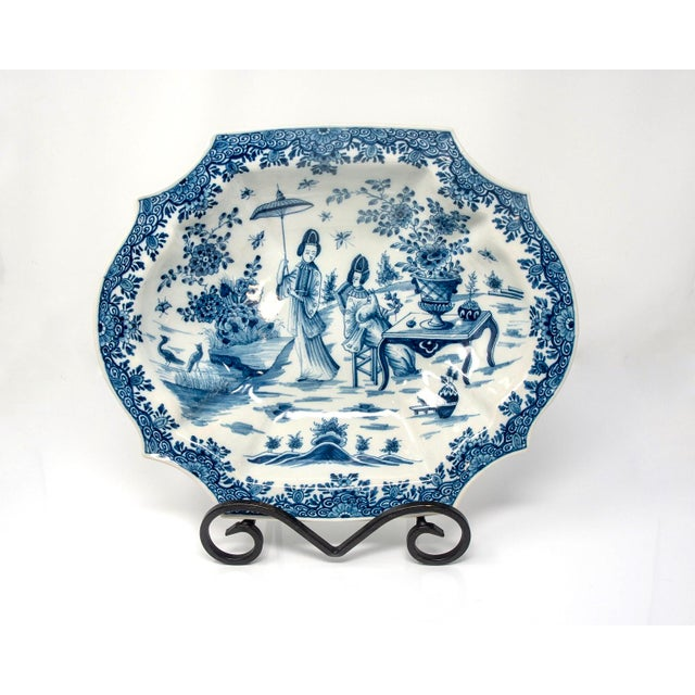 Blue and White Delft Platter With Chinoiserie Design For Sale - Image 10 of 10