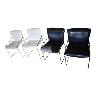 Mid Century Italian Leather & Chrome Dining Chairs - Set of 4 For Sale
