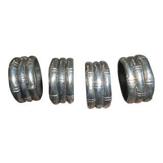 Mid-Century Silver Bamboo Napkin Rings - Set of 4