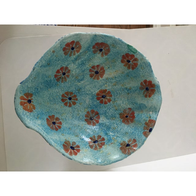 Folk Art Italian Hand Painted Ceramic Shell Bowl Perched Atop Dolphin Tail For Sale - Image 3 of 10