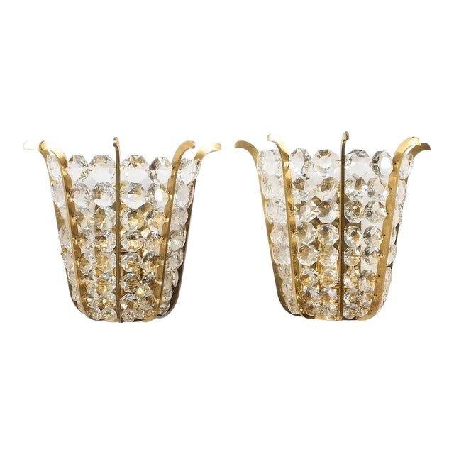 Pair of Bakalowits Crown Sconces Brass and Glass, Austria 1955 For Sale