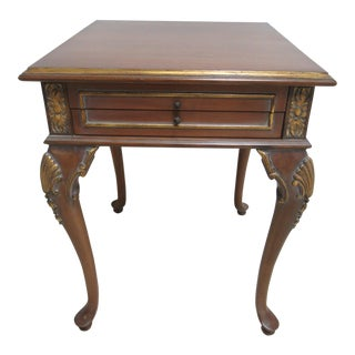 Maitland Smith Carved French Regency Washed Cherry Table