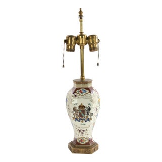 English Victorian Porcelain Table Lamp For Sale