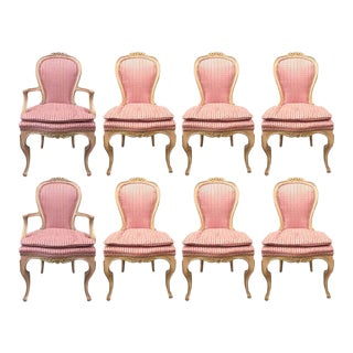 Set of Eight Louis XVI Style Painted Dining Chairs For Sale