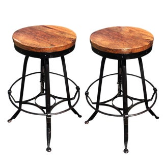 Antique Industrial Rustic Design Revolving Drafting Wrought Iron & Wood Stools - A Pair
