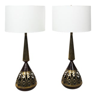 Vintage Tony Paul Walnut and Brass Lamps - a Pair For Sale