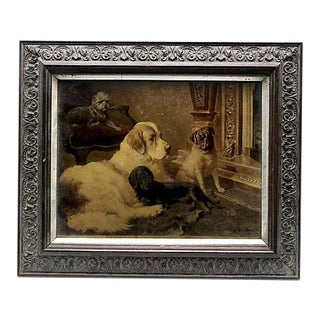 Antique Print on Glass With Pug / Dogs