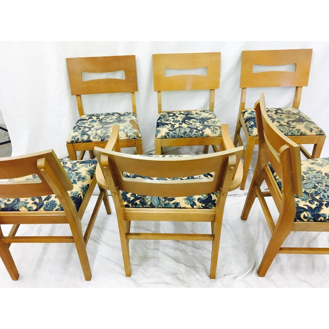 Wood Vintage Mid-Century Modern Square Back Wooden Dining Chairs - Set of 6 For Sale - Image 7 of 9