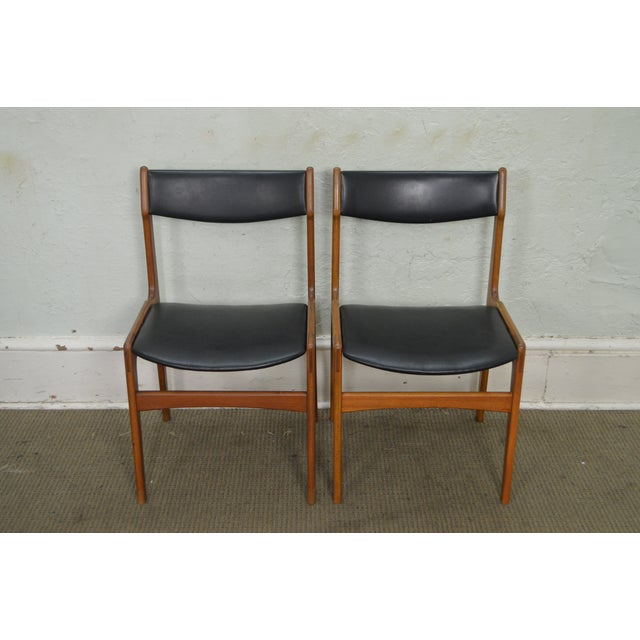 STORE ITEM #: 15891 Danish Modern Teak & Black Leather Set of 4 Dining Chairs AGE/COUNTRY OF ORIGIN – Approx 50 years,...