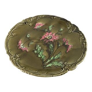 Vintage German Majolica Green & Pink Plate