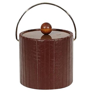 1960s Brown Vinyl Ice Bucket