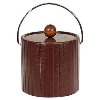1960s Brown Vinyl Ice Bucket