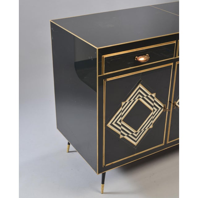 1960s Op Art Murano Black and White Glass Clad Chest of Drawers With Brass Hardware For Sale - Image 5 of 13