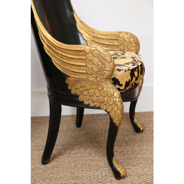 Art Deco French Empire Armchairs Upholstered in Clarence House Tiger Velvet - a Pair For Sale - Image 3 of 11