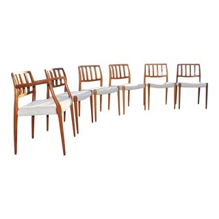 1960s Vintage Neils Moller Danish Teak Dining Chairs - Set of 6 For Sale