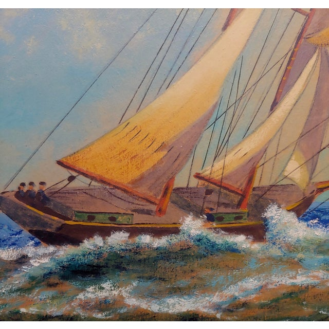 "1950s E. D. Ward ""Sailboat Racing"" Painting, 1950s For Sale - Image 5 of 10"