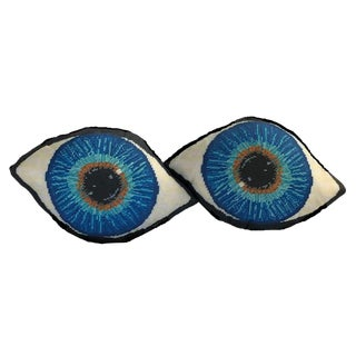 """Emerson"" Blue Eye Sculpted Pillows - a Pair, Original Textile Art For Sale"