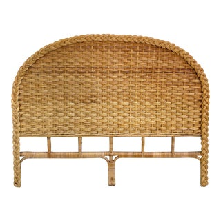 1960s Vintage Braided Woven Bamboo Wicker Rattan Queen Headboard For Sale