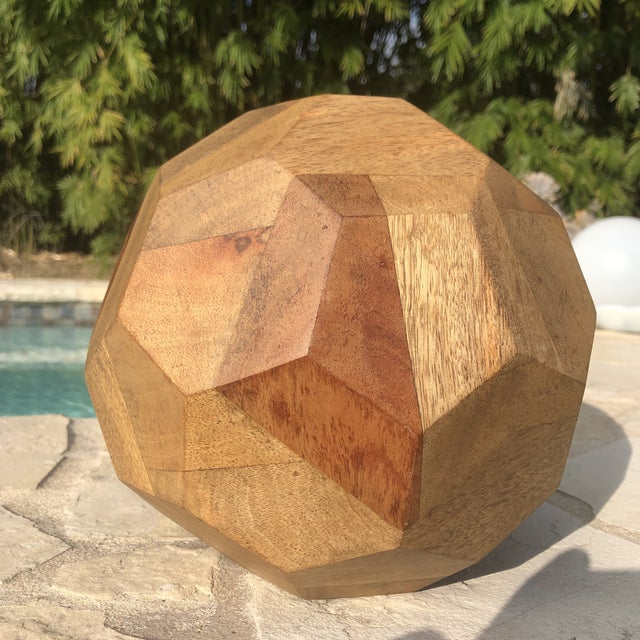 Modern Organic Faceted Geometric Wood Sculptural Orb For Sale In Austin - Image 6 of 8