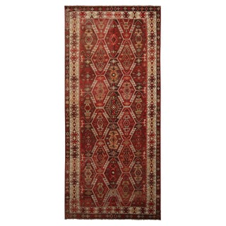 "Vintage Kayseri Crimson Red Wool Kilim Rug-5'6'x12'2"" For Sale"