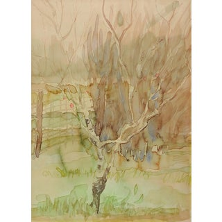 Impressionist Peach Tree Watercolor Painting For Sale