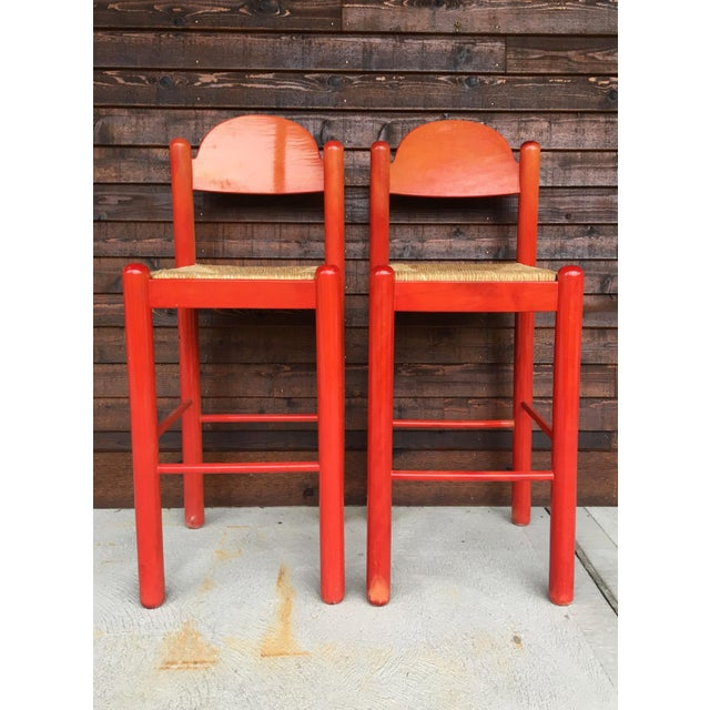 Mid-Century Modern 1960s Mid-Century Modern Cassina Style Red Cane Seat Bar Stools - a Pair For Sale - Image 3 of 12
