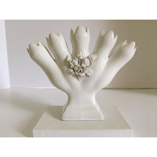 White Vintage Portuguese Tulipiere/Five Finger Vase For Sale - Image 8 of 12