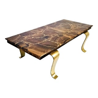 Onyx Coffee Table by Arturo Pani for Muller of Mexico - Brass Marble Mid Century Modern Palm Beach Boho Chic Rectangular For Sale