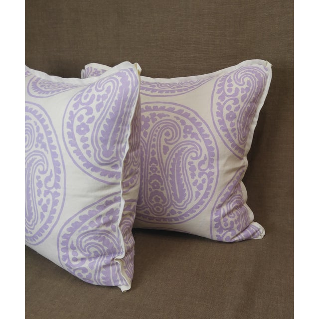English Raoul Textiles Throw Pillows in Mira Linen Print - a Pair For Sale - Image 3 of 5