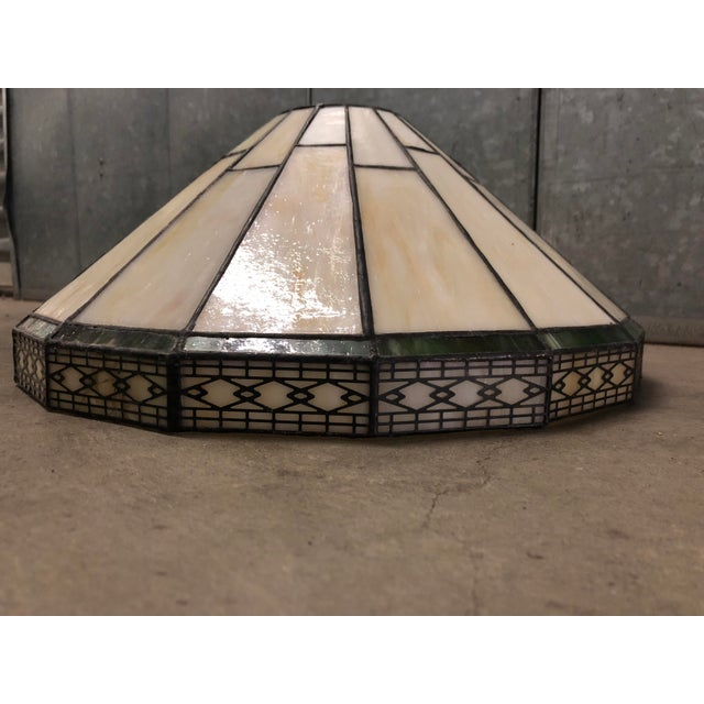 Very large mission style / arts & crafts spectrum slag lamp shade.