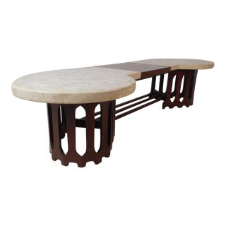 Midcentury Inlaid Stone and Walnut Top Coffee Table For Sale