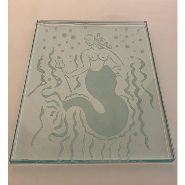 1920s Art Deco Glass Panel on Bronze Base For Sale - Image 9 of 13