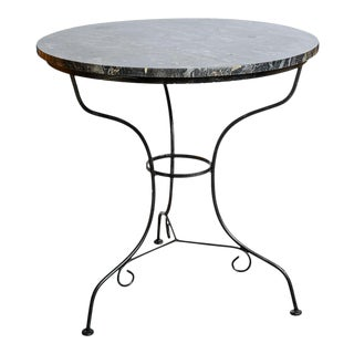 French Bistro Table With Original Marble Slab For Sale