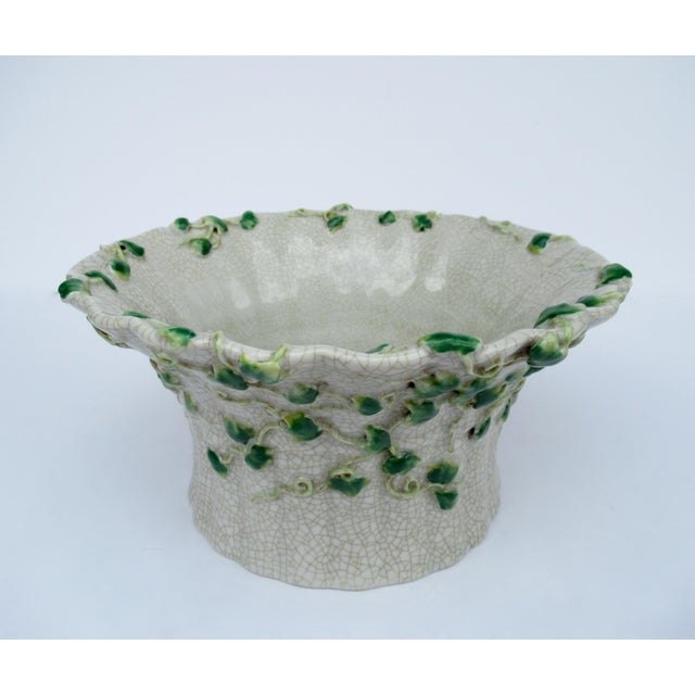 Asian Vintage Ceramic Crackle Center Bowl With Adorned English Ivy by United Wilson/Hong Kong For Sale - Image 3 of 13