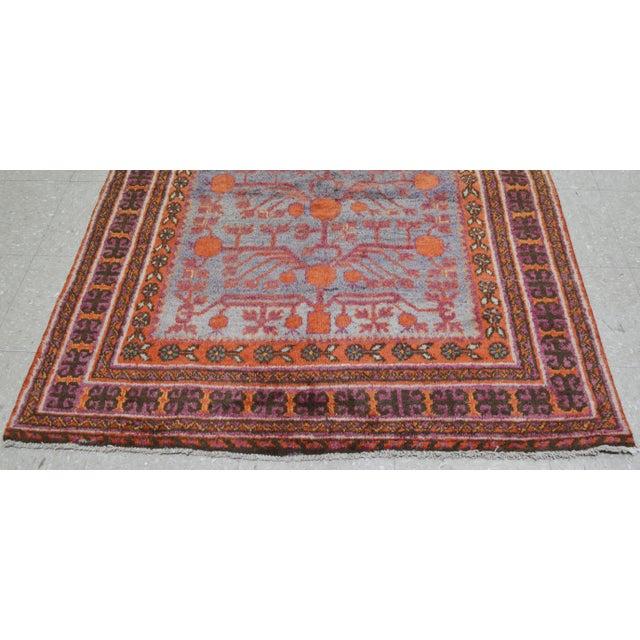 "20th Century Boho Chic Orange and Purple Khotan Wool Rug - 4'3""x9'7"" - Image 3 of 5"