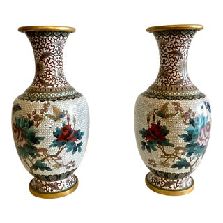 Late 20th Century Chinese Cloisonne Vases - a Pair For Sale