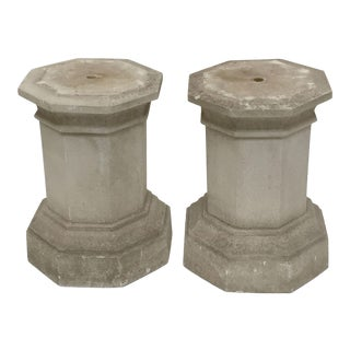 English Garden Stone Octagonal Column or Pedestal Plinths - a Pair For Sale