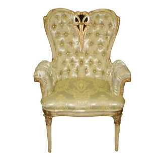 French Rococo Hollywood Regency Tufted Gold Arm Chairs - a Pair Preview