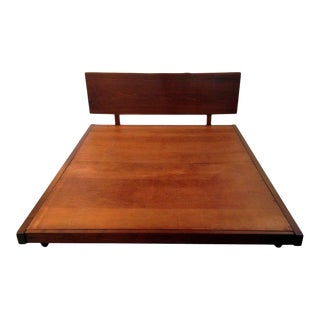 Platform Bed With Walnut Headboard in the Style of George Nakashima For Sale