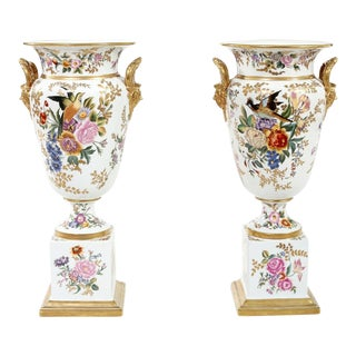 Tall English Porcelain Decorative Pieces / Vases - A Pair For Sale