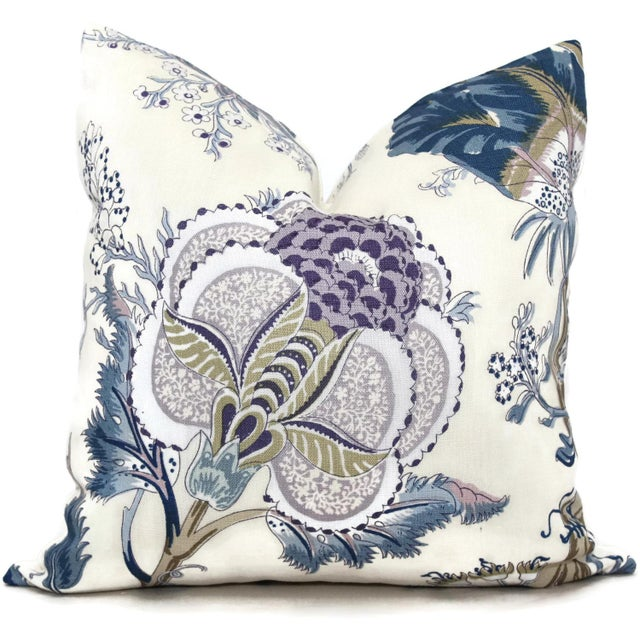 "Contemporary 20"" x 20"" Schumacher Indian Arbre Hyacinth Pillow Cover For Sale - Image 3 of 3"