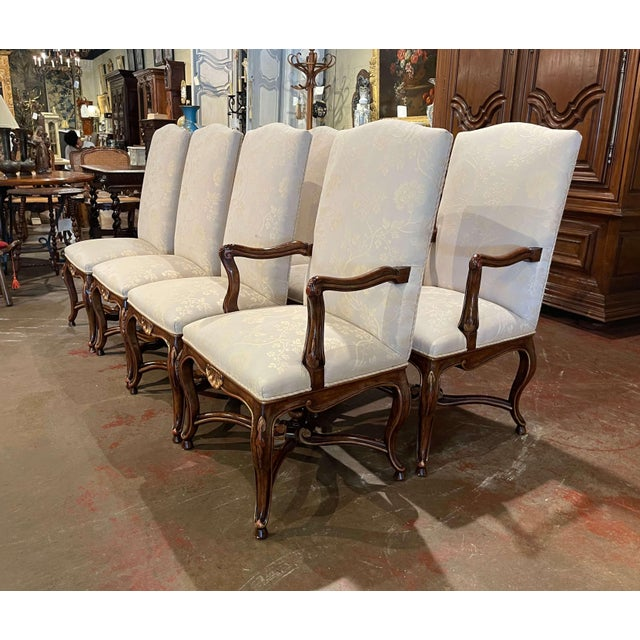 2000 - 2009 Set of Eight Louis XV Style Carved Walnut Dining Chairs From Minton-Spidell For Sale - Image 5 of 13