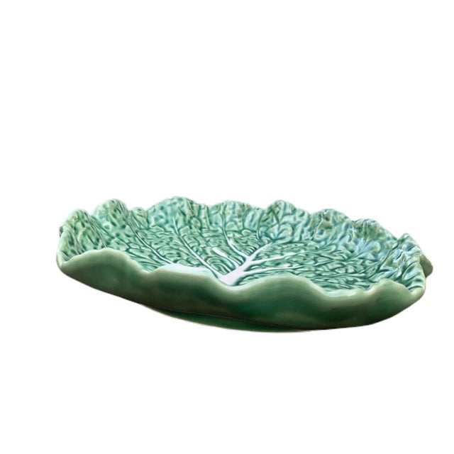 Mid-Century Modern Vintage Aries C. Leal Green Cabbage Leaf Plate For Sale - Image 3 of 6
