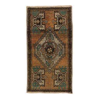 1960s Vintage Turkish Oushak Faded Small Rug - 1′7″ × 3′ For Sale